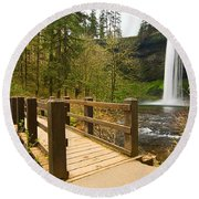Lower South Waterfall With Footbridge In Oregon Columbia River Gorge. Round Beach Towel