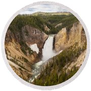 Lower Yellowstone Canyon Falls Round Beach Towel