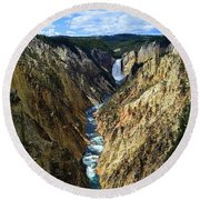 Lower Yellowstone Falls Panorama 2 Round Beach Towel