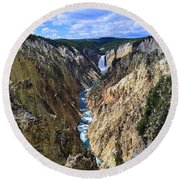 Lower Yellowstone Falls Panorama Round Beach Towel