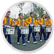 Lsu Marching Band Round Beach Towel by Steve Harrington