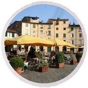 Lucca Piazza Del Mercato  Round Beach Towel