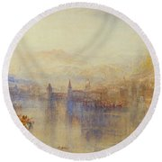 Lucerne From The Lake Round Beach Towel
