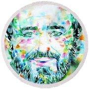 Luciano Pavarotti - Watercolor Portrait Round Beach Towel