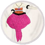 Lucile - Design For A Dress Round Beach Towel