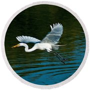 Lucky Egret Round Beach Towel