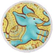 Lucky Elephant Turquoise Round Beach Towel