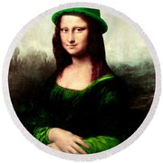 Lucky Mona Lisa Round Beach Towel by Gravityx9  Designs