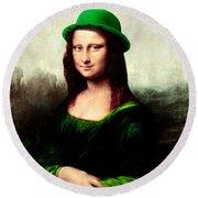 Lucky Mona Lisa Round Beach Towel