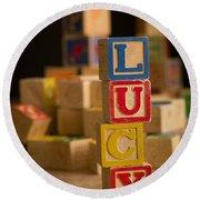 Lucy - Alphabet Blocks Round Beach Towel