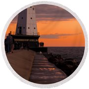 Ludington Pier And Lighthouse Round Beach Towel