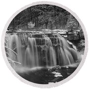 Ludlowville Falls In Winter I Round Beach Towel