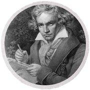 Ludwig Van Beethoven Round Beach Towel