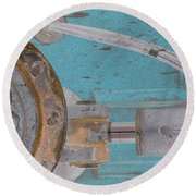 Lug Nut Wheel Left Turquoise And Copper Round Beach Towel