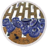 Lug Nuts On Grate Vertical Peach And Purple Round Beach Towel