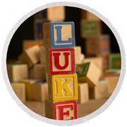 Luke - Alphabet Blocks Round Beach Towel