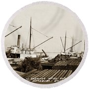 Lumber Steamers Unloading At Redwood Mfg. Co.s Wharf Pittsburg Circa 1920 Round Beach Towel