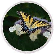 Luminous Butterfly On Lacecap Hydrangea Round Beach Towel