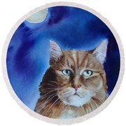Lunar Cat Round Beach Towel