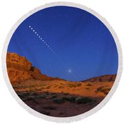 Lunar Eclipse Sequence From Monument Round Beach Towel