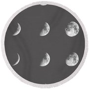 Lunar Phases Round Beach Towel