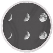 Lunar Phases Round Beach Towel