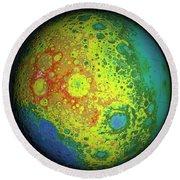 Lunar Topography Globe Round Beach Towel