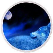Lunar Wolf 2 Round Beach Towel