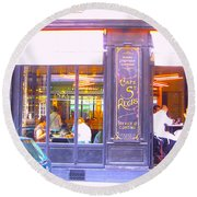 Lunch Time At The Cafe St Regis In Paris Round Beach Towel