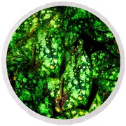 Lungwort Leaves Abstract Round Beach Towel