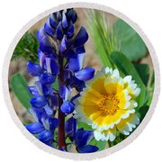 Lupine And Tidy Tip Round Beach Towel