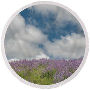 Lupine Field Under Clouds Round Beach Towel