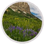 Lupines On The Hillside Round Beach Towel
