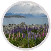 Lupins By The Lake Round Beach Towel