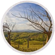 Lush Land Leafless Trees 2 Round Beach Towel