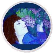 Lush Lilacs Round Beach Towel