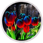 Lustrous Tulips Round Beach Towel
