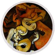 Lute Players Round Beach Towel