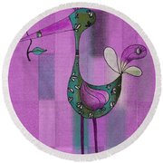 Lutgarde's Bird - 061109106-purple Round Beach Towel