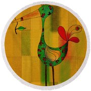 Lutgarde's Bird - 061109106-wyel Round Beach Towel by Variance Collections