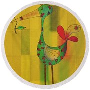Lutgarde's Bird - 061109106y Round Beach Towel by Variance Collections