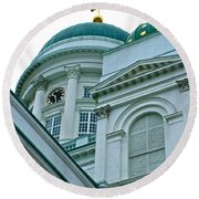 Lutheran Cathedral Of Helsinki-finland Round Beach Towel
