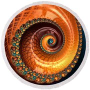 Luxe Fractal Spiral Brown And Blue Round Beach Towel
