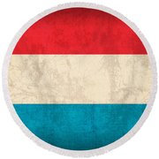 Luxembourg Flag Vintage Distressed Finish Round Beach Towel