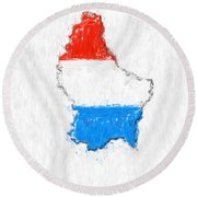 Luxembourg Painted Flag Map Round Beach Towel