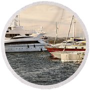 Luxury Boats At St.tropez Round Beach Towel by Elena Elisseeva