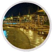 Luxury Hotel At Night Round Beach Towel