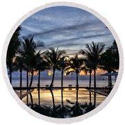 Luxury Infinity Pool At Sunset Round Beach Towel