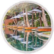 Luxury Pool With Loungers Round Beach Towel