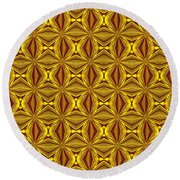 Luxury Red And Gold Christmas Kaleidoscope Round Beach Towel